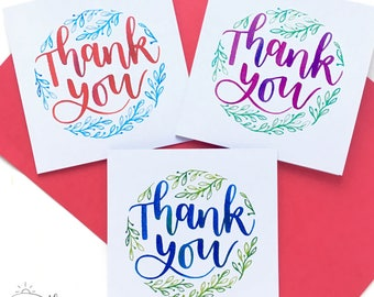 Pack of 3 thank you cards - Hand-lettered card - Hand-lettering - Hand-lettered - Watercolour - stocking filler