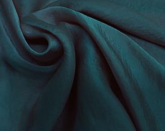 Teal Denim Silky Satin Chiffon Fabric by the Yard - Style 455
