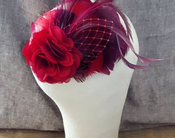 comes love fascinator headpiece bestseller available in many different colors marsala winered vintage bridal bride wedding bridesmaid gray