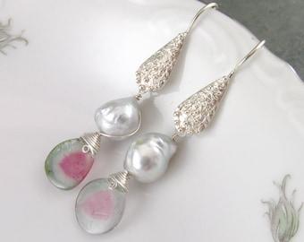 Watermelon tourmaline slice earrings with silver South Sea saltwater pearls, handmade sterling silver earrings-OOAK June birthstone