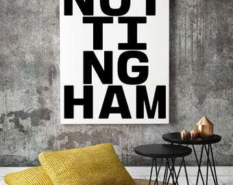 Nottingham, Typography Print, Nottingham Posters, Nottingham Art, Nottingham Sign, Nottingham City, Uk Cities, Nottingham Gifts, Wall Art