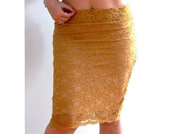 Gold lace stretch skirt -Low rise pencil skirt- Women fitted skirts- Elegant sexy lace skirt- Occasion, cocktail, office lace skirt