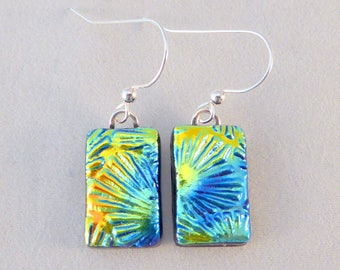 Multi Colored Dichroic Fused Glass Dangle Earrings, Fused Glass, Fused Glass Earrings, Glass Earrings, Dichroic Earrings, Dichroic, Colorful