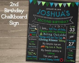 2nd Birthday Chalkboard Sign for Second Birthday Party, Second Birthday Chalkboard Sign, 2nd Birthday Chalkboard Poster