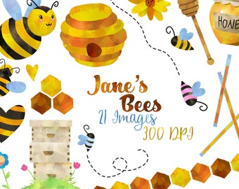 Watercolor Honey Bees Clipart - Bee Items Download - Instant Download - Cute Bees - Honey - Beehive - Honeycomb