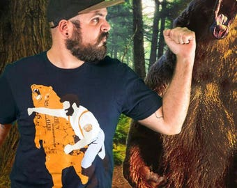 Cool T-shirt, Graphic Tee, Funny Shirt, Gift for Him, Bear, Screen Printed, Animal Tee, Unisex Tee, Cotton, Navy Tee,  Printed in America