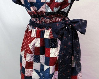 Handmade Apron Full Apron Patriotic Red White and Blue Quilt Patchwork Stars Flag Apron Country