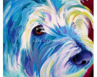 West Highland White Terrier, Pet Portrait, DawgArt, Dog Art, Pet Portrait Artist, Colorful Pet Portrait, Westie Art, Art Prints, Westie