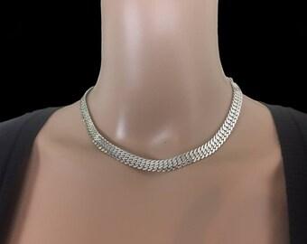 W. Germany, Adjustable Herringbone, Eloxal Aluminum, Chain Necklace, Minimalist Fashion, Vintage 1950's