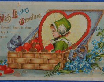 Valentine With Love's Greeting Postcard Embossed Postmarked 1911