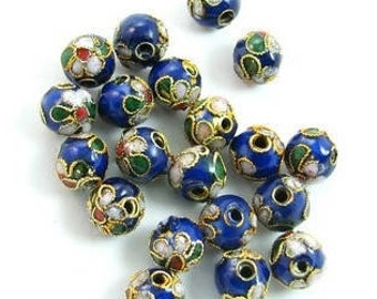 5 pearls Cloisonnees Chinese blue multicolor round 10 MM.