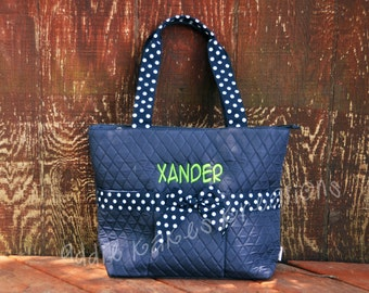 Personalized Navy and White Polka Dot Diaper Bag