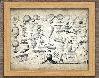 Air Balloon Print - Vintage Aeronautica Illustration - Balloon Art - Digital Art - Printable Art - Digital Print #4 - INSTANT DOWNLOAD