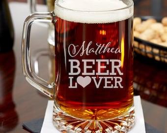 Beer Lover Personalized Engraved 15 oz Beer Mug -Groomsmen Gifts - Holiday  (JM2490886)