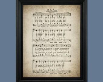 All For Jesus Hymn Print - Sheet Music Art - Hymn Art - Hymnal Sheet - Home Decor - Music Sheet - Print - Gift - #HYMN-P-003