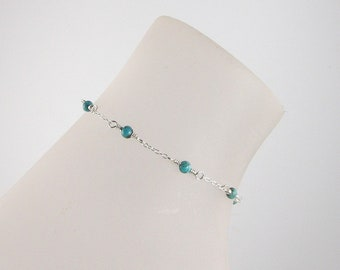 Turquoise Sterling Silver Chain Anklet, Turquoise Ankle Bracelet