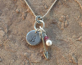 Arrow Necklace, Womens Initial Necklace, Girl Monogram Necklace, Child Letter Necklace, Personalized Necklace, Birthstone Necklace