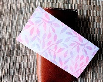 Pastel Watercolor Leaves Traveler's Notebook Insert | Midori Insert | TN Insert | Fauxdori | Tomoe River | A5 B6 Passport Standard Pocket
