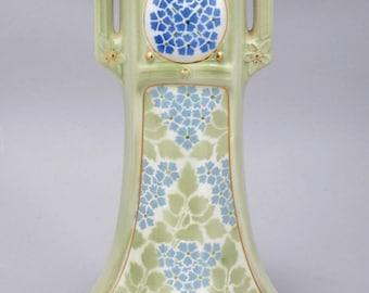 Antique Art Deco, Celadon Porcelain Vase - Signed by K et G Luneville, France