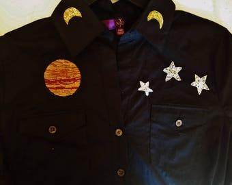 Hand Embroidered Jupiter, Stars and Moons on Button Up Blouse// Size Small