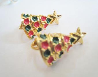 Christmas Trees Clip Earrings