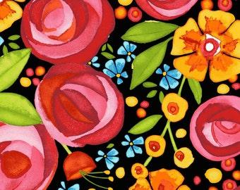 Packed Floral - Black (8440-J) by Maywood Studio Cotton Fabric Yardage