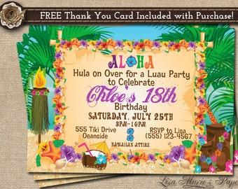 Hawaiian Invitation Etsy - Luau invitation template