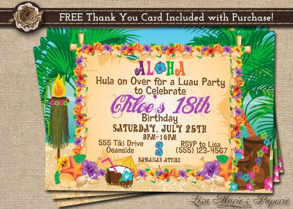 Unforgettable image in free printable luau invitations