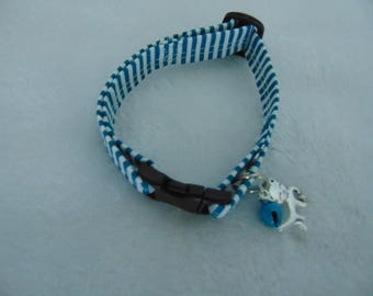 Blue and white candy stripe cat collar
