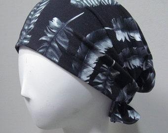 Beanie, slouchy, Cap,black,feather,hat slouchy beanie, slouchy cap,Cotton Spandex Chemo Caps, Chemo Hat,stretchy caps, bonnet