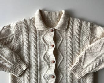 Fisherman Knit Sweater  - Irish Knit - Charming - Yummy Cream Wool Cable - Thick & Toasty - Cute Style -