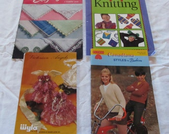 CRAFTING BOOKS & PATTERNS- vintage and contemporary--  Handkerchief Edgings, Knitting, Paton's Canadiana Styles, Victorian Angles