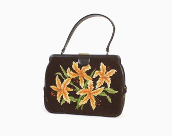 Vintage 60s TIGER LILLIES Purse / 1960s Brown Leather & Floral Tapestry Needlepoint Hand Bag