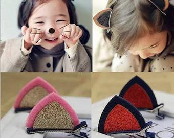 Girl Hair Clips Cat Ears Kitten Bow Barrette