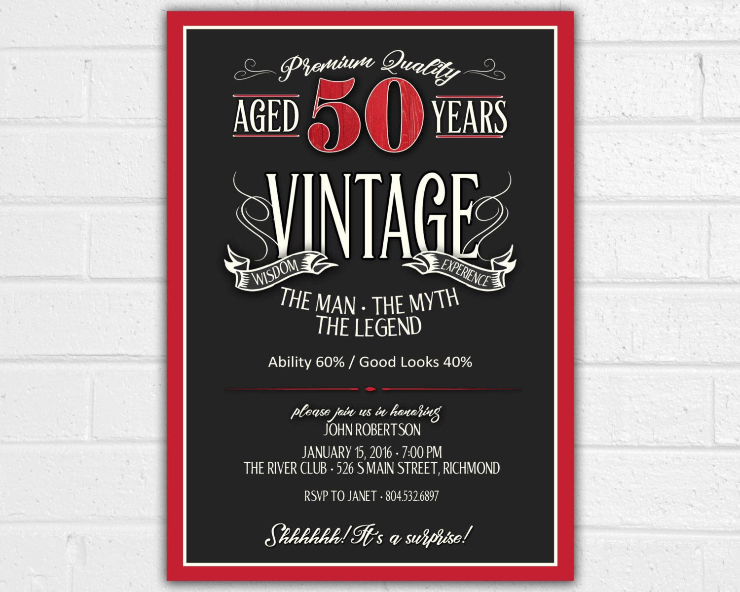 50th birthday invitation for men jpeg printable aged to zoom stopboris