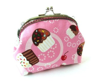 Cupcake frame purse pink cotton fabric - silver metal kiss lock clasp - makeup bag - pink coin pouch
