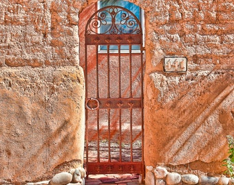 Santa Fe Photo - Santa Fe Terracotta - Fine art photo - Southwest Door art - rustic vintage - wrought iron gate - Wall art - orange gold