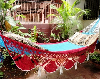 Beautiful Two Colors Red Turquoise Single Hammock hand-woven Natural Cotton Special Fringe