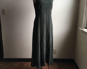 vintage 90s rabbit designs 3054 nos sleeveless round neck solid breen green high waist empire waist maxi rayon dress made in usa