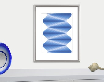Geometric print, geometric poster, surf abstract art, optical illusion waves art print, blue and white poster, beach decor, wall art