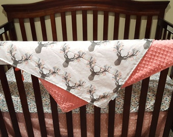 Baby Girl Crib Bedding - Tulip Fawn, Feathers, Coral Weathervanes, and Coral Crib Bedding Ensemble with Blanket or Patchwork Blanket