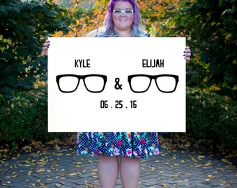 Mr and Mr Glasses Guestbook for Weddings Guestbook for wedding Wedding Guestbook LGBT Mrs and Mrs  Hipster Guestbook Wedding Poster