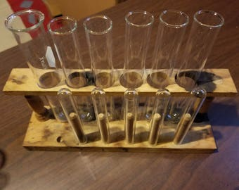 Vintage Scientist Laboratory Chemists Medicinal Wooden Test Tube Rack with 10 Glass Test Tubes Holds 12