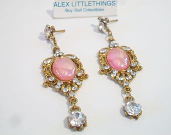 Pink Cabochon Dangle Drop Earrings Gold Tone Ornate Prom Costume Jewelry