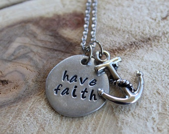 have faith hand stamped necklace