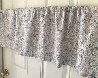 Pink and Gray Fairy Tale forest  Curtain Valance