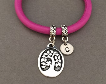 Tree of life leather bracelet, tree of life charm bracelet, leather bangle, personalized bracelet, initial bracelet, monogram