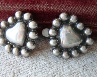 Vintage Sterling Earrings, Puffy Heart Clip On Earrings Mexico Mexican Sterling Earrings Mid Century