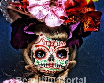 Beautiful Mortal Blonde Dia De Los Muertos Doll PRINT 344 Reproduction by Michael Brown
