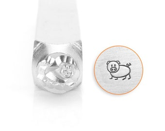 Oinky Design Stamp, Piggy Stamps, SC1513-B-6MM, Animal Metal Stamps, Carbon Steel Stamp, ImpressArt Stamp, Animals and Nature Stamps